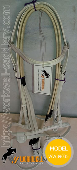 Synthetic Beta Biothane Bridles for Horses in White ~ workwell saddlery